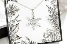 Fashion Womens Silver Plated Snowflake Crystal Lucky Pendant Chain Long Necklace