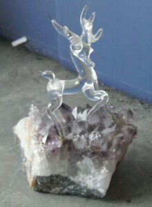 """Unique Art Glass Deer Figurine on Purple Geode with Fossils 4"""" Tall"""
