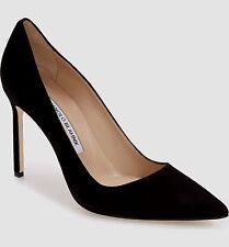 Designer MANOLO BLAHNIK Ladies BB Black Suede Pointy Toe Pump Shoes 38.5 ITALY