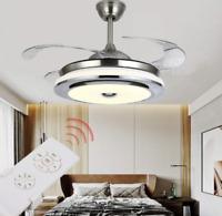 "36""/42"" Modern Chandelier LED  3-Color Ceiling Fan w/ Retractable Blades +Remote"