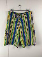 Liskamm Outdoors  Men's Board Shorts - Yellow Green Blue - Size M Swimming Beach