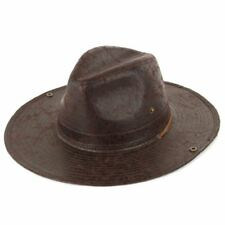 Fedora Hat Cowboy Leather Effect BROWN Hawkins Brim Faux Trilby Mens Ladies