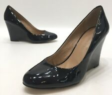 Banana Republic Womens Black Patent Leather Slip On Wedge Heels Size 8M