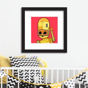 Robot wall art for children/babies Limited Edition Yellow Robot
