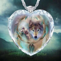 925 Silver Women Animal Wolf Heart Necklace Natural Crystal Jewelry Pendant US