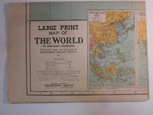 Vintage Map  Large Print   The World    Alexander Gross    Geographia Map  1940s