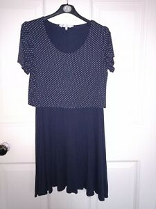 Flattering navy and white polka-dot Red herring dress 14