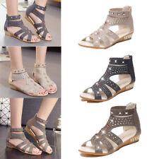 Women Fashion Sandals Glitter Rhinestone Zip Wedge Low Open Toe Shoes Size 3.5-7