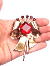 Marcel Boucher Sterling Silver Vermeil Big Red Rhinestone Bow Brooch 30.9 Grams