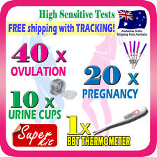 40x Ovulation Tests 20x Pregnancy Test Strip Fertility OPK Thermometer Urine Cup