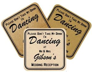 """Vintage Wedding coasters Laminated """"Don't take my drink I'm Dancing"""" 3 styles"""