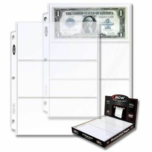 (300) BCW 3-Pocket Currency Pages Size 3.5 x 8 Paper Money Binder Holders