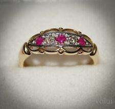 Diamond & Ruby Ring 9 Carat White & Yellow Gold Ring Size M
