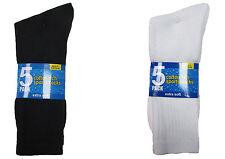 Mens Sports Socks Black White Cotton Rich Work Socks Thick Long Socks 10/20 pair