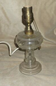 "Antique glass oil lamp converted to table lamp, 10 1/2"" tall"
