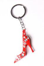 Cute Ladies Sign Red Stilletos Heels w Shiny Diamante Beads Key Ring (T475)