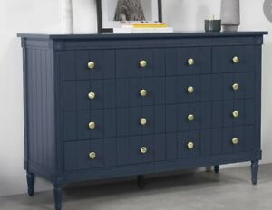 Bourbon Vintage Wide Chest Of Drawers, Slate Blue Check Image 3&4 Actual