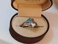 Sweetheart Valentine Blue Turquoise White Shell Inlay Silver sz 10 Ring 2e 67