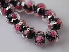 10pcs Black/Pink Rondelle Faceted Glass Crystal Rose Flower Inside Beads 12mm