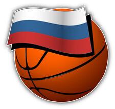 Russia Flag On Basketball Ball Car Bumper Sticker Decal 5'' x 5''