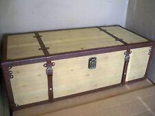 Couchtisch Truhe Aufklappbar Tannenholz-Kunstleder Breite 110,5 cm MIAVILLA