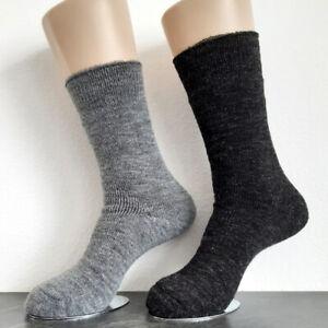 2 Pair Men's Alpaca Thermal Socks Extra Warm 100% Wool Grey 39 To 46