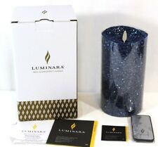 "Luminara Real Flame-Effect Flameless Candle 5"" Glitter Blue & Remote NEW in BOX"