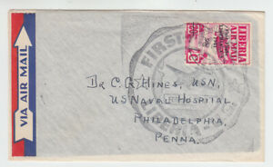 Liberia # C23 First Flight Cover to PA 1941 Surcharge Airplane CV Used Stamp $70