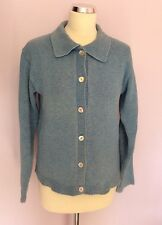 BODEN BLUE COLLARED BUTTON FRONT COTTON CARDIGAN SIZE S