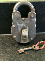 Vintage Extra Large Indian Steel Padlock With Key Working Bank Lock 10 Levers b