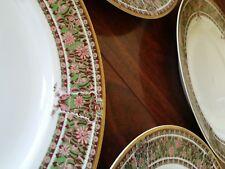 Antique HAVILAND & Co FRANCE LIMOGES H111 DINNER PLATES PINK FLOWERS GOLD GREEN