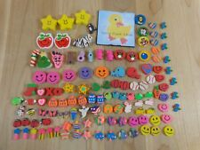 MINI ERASERS Lot of 120 Stars Fish Hearts Smile Faces Animals Easter Christmas