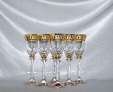 6 Likörgläser / Wodkagläser, Bohemia Glas, Kristallglas, Handbemalt in Gold, Neu