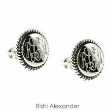 925 Sterling Silver Rope Edge Monogram Personalized Earrings - 14mm