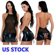 US Sexy Women Patent Leather Mesh Transparent Clubbing Party Mini Dress Clubwear