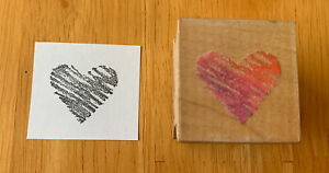 All Night Media Vintage 1990 Scribble Heart Rubber Stamp Love 400D