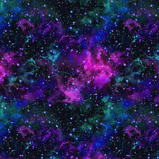 Blue Purple Galaxy Cosmos Stars Lycra Print 4 Way Stretch Spandex Fabric Sewing