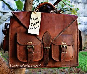 New Men's Vintage Brown Leather Messenger Bag Shoulder Laptop Bag Briefcase