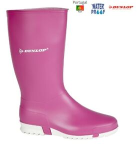 Pink Wellies Dunlop Wellington Ladies Girls pull on Boots Sport Sizes 12 - 8 UK
