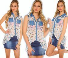 Boho Camicetta Chiffon Look Jeans Top Fiori Maglietta Stampata Oversize