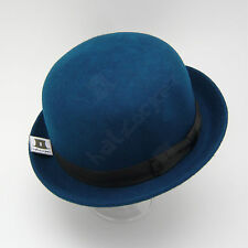 FASHION Wool Felt Women Bowler Hat Men Soft Derby Unisex | 57cm | Midnight Blue