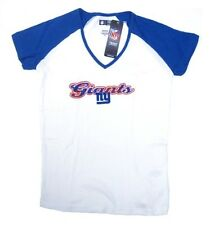 New York Giants NFL White Shirt Women's Fashion Top Blue Sleeves X-Large XL