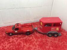 Tonka Rodeo Red Horse Trailer & Field & Stream Pickup Truck /2 horses.