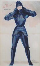 """""""PIN-UP en ARMURE"""" Affiche originale entoilée  CAROLS (BRENOT) 1950-51  34x51cm"""