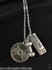 Dumbbell 45lb  Strong is Beautiful Weightlifting necklace,Exercise,Gym Necklace