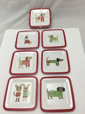 "Jingles & Joy Set Of 6 Christmas Dog Dachshund Melamine Appetizer 6""  Plates"