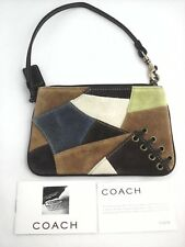 COACH Purse Mini Bag Boho Patchwork Suede Brown/Blue Wristlet Wallet Clutch MINT