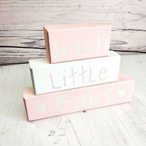 Hush Little Baby Wooden Blocks - Nursery Decor - Baby Pink - New Baby Gift