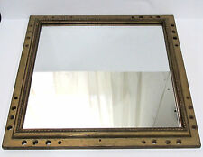 Vintage Square Wood Framed Wall Mirror With Nautical Look Holes and Rope Element