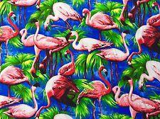 FQ Funky Flamant oiseaux tissu Kitsch Bleu